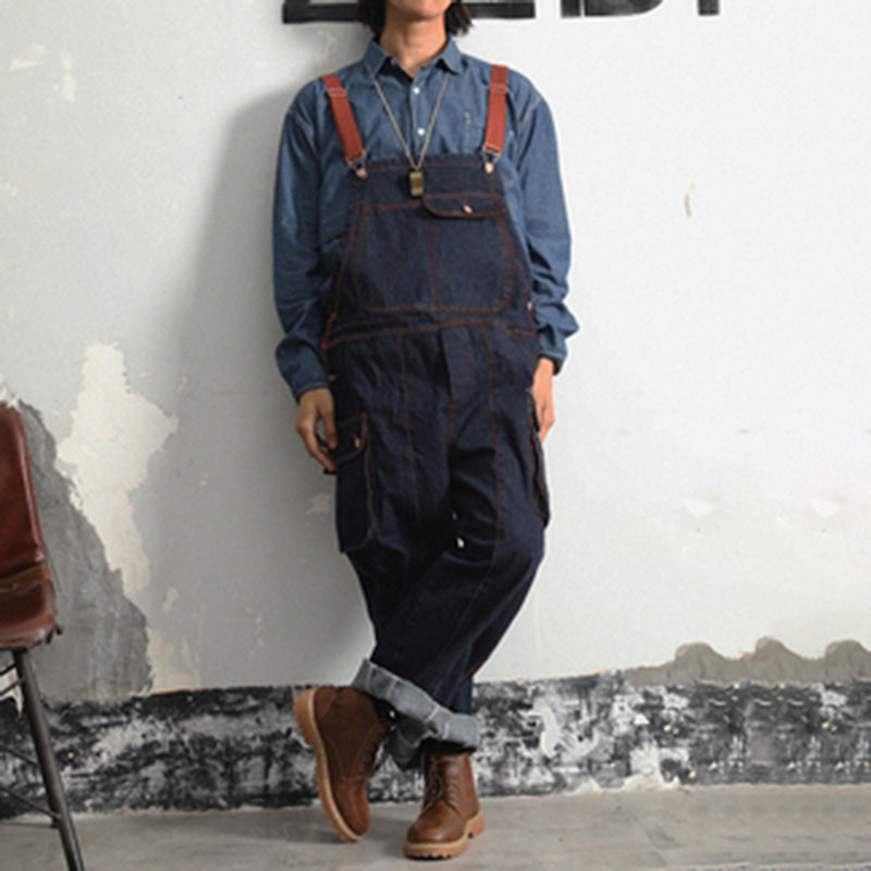 Men's fashion contrast color loose long denim overalls