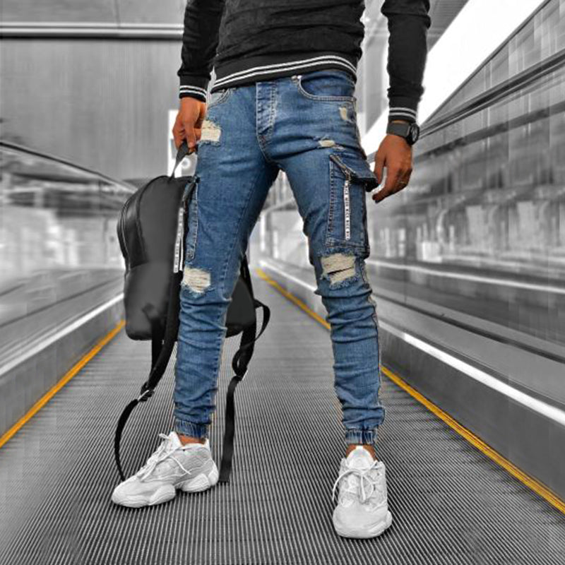 Men Stylish Pocket Broken Hole Jeans