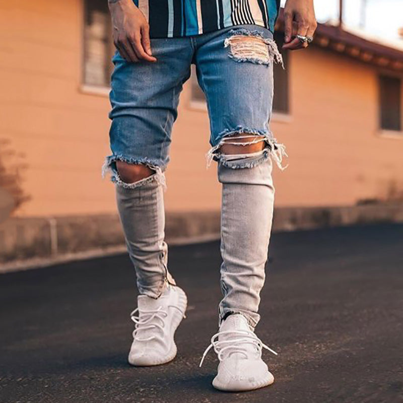 Men's street gradient ripped slim fit jeans