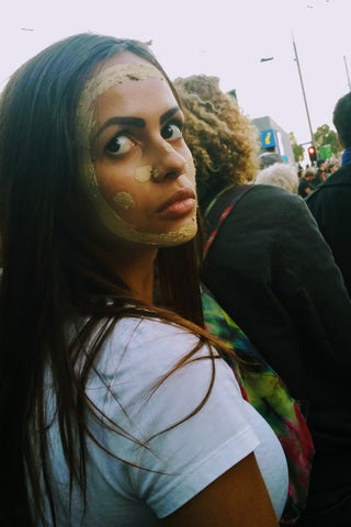 Ryhia demonstrating at a rally in Melbourne against the forced closure of remote Aboriginal communities April 10 2015