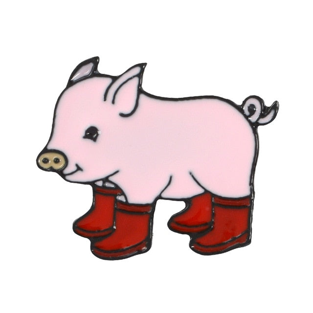 Cute pig -Red boots