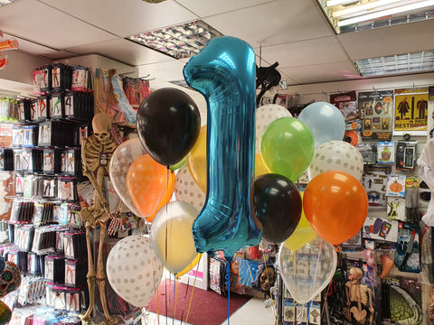 Three bunches on helium latex balloons on weights and Tiffany Blue number one balloon
