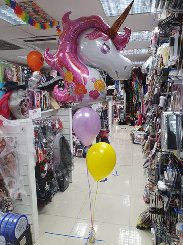 Magical unicorn foil balloon on a two balloon bouquet
