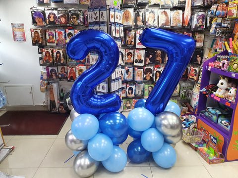 blue 27th birthday balloon columns
