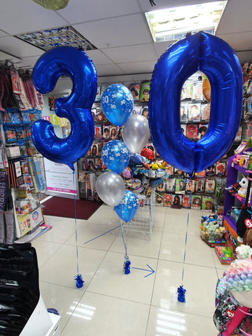 Five balloon bouquet and blue number 3 and 0 balloons