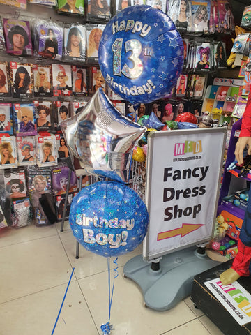 Blue 13th birthday, blue birthday boy and silver star foil balloon on weight