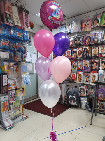 Pink & purple five balloon bouquet with pink 15th birthday balloon
