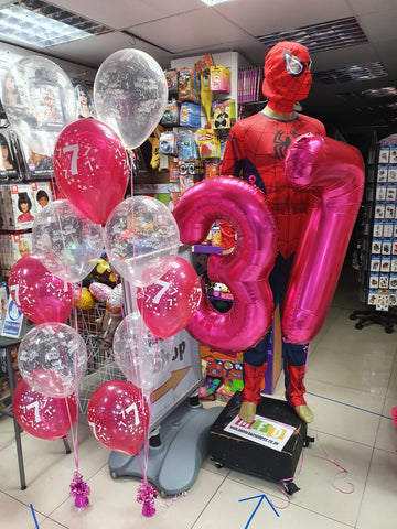 two bunches of pink and clear happy birthday 7 balloons and large number