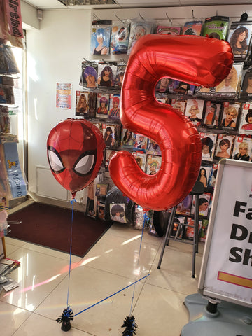 spider-man and red number five foil balloon