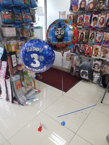 blue 3rd birthday and thomas the tank engine balloon