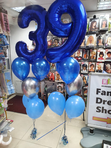 Blue and silver 39th birthday balloon bouquets