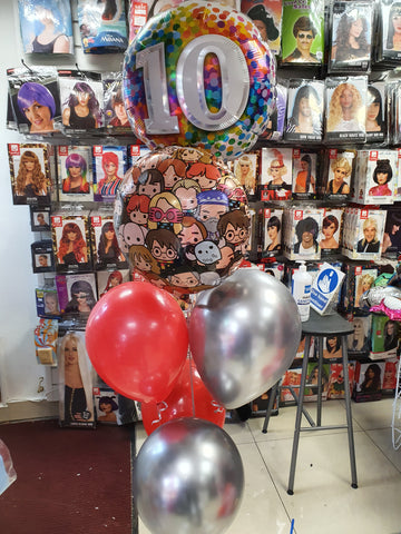 red and silver, Harry Potter, 10th birthday balloons