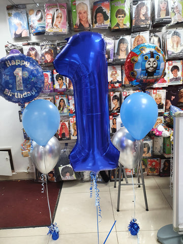 Blue 1st birthday balloons