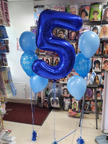 Blue 5th birthday balloons
