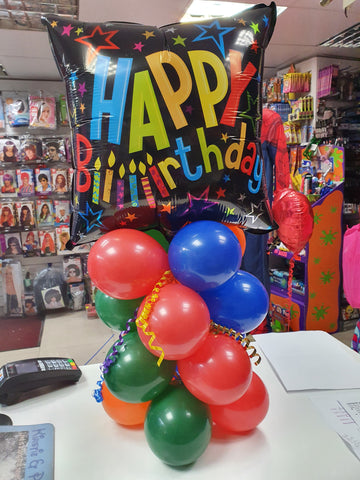 brightly coloured happy birthday balloon display