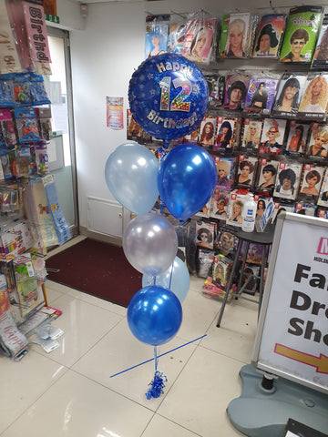 Blue 12th birthday balloons