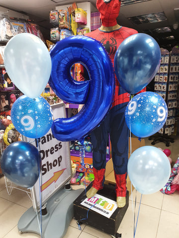blue 9th birthday balloons