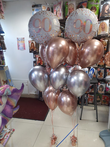 Rose gold and silver 90th birthday balloons