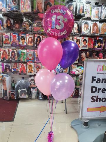 Pink and Purple 13th birthday balloon bouquet
