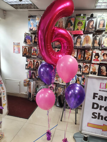 Pink and purple 6th birthday balloons