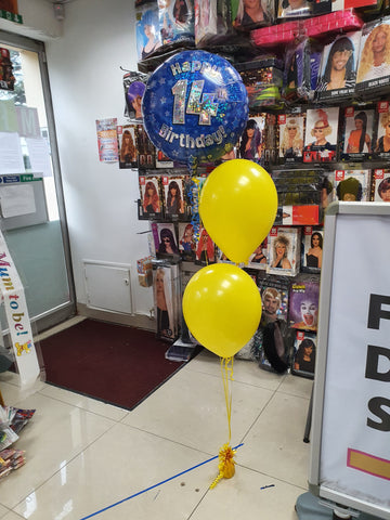yellow and blue 14th birthday balloons