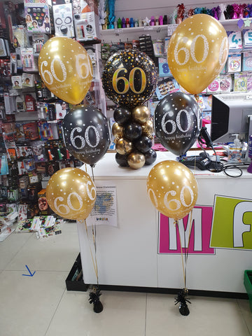 Black and gold 60th birthday balloons
