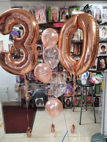 Rose gold 30th birthday balloons with five balloon bouquet