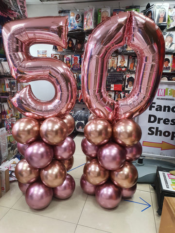 Rose gold and pink 50th birthday balloon columns