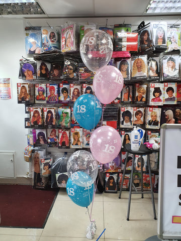 Pink and turquoise 18th birthday balloons - bunch of 6 printed & weight