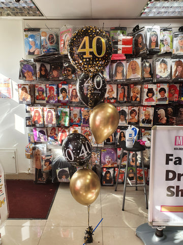 Gold and black 40th birthday balloon with four balloon bouquet