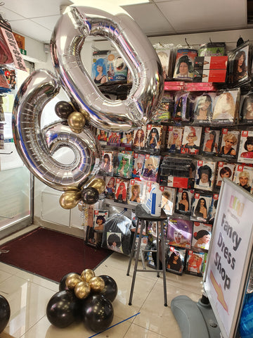 60th birthday silver and gold double number helium display