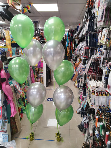 Green and silver five balloon bouquets