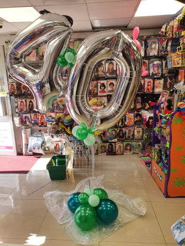 Silver and green 40th birthday double helium filled balloon bouquet