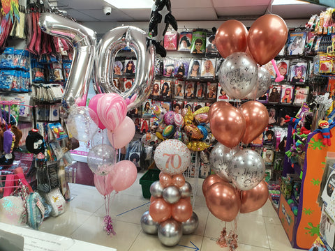 70th Birthday balloons Double number bouquet, pyramid and five balloon bouquets