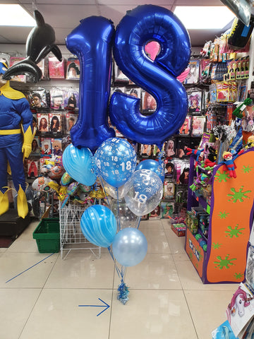 blue 18th birthday double number balloon bouquet
