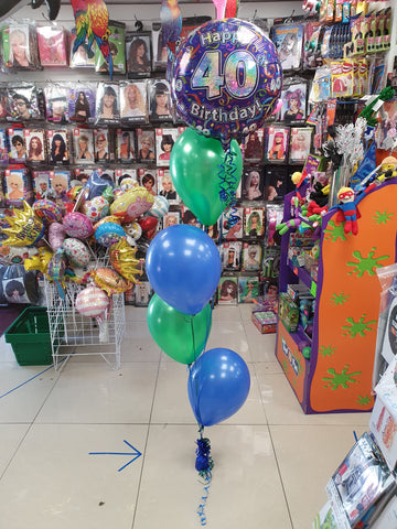 Green and blue four balloon bouquet with 40th birthday foil