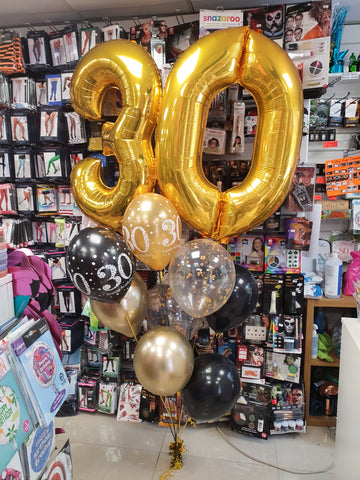 Gold and black double number helium display