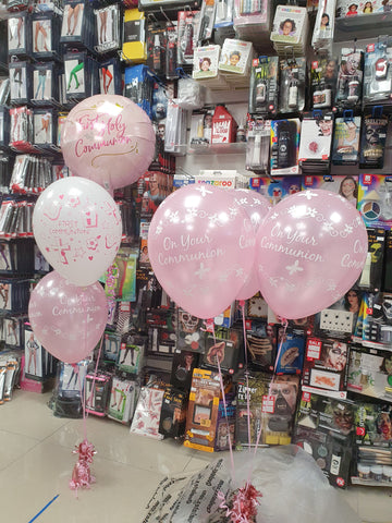 Pink first holy communion balloons