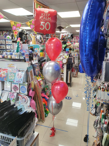Red and silver four balloon bouquet with 50th foil