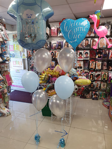 Blue and silver three balloon bouquets with it's a boy foils
