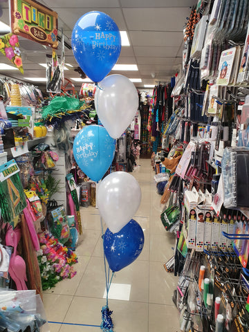Blue and white 5 balloon bouquet