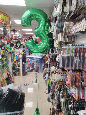 Avengers and green number three foil balloon