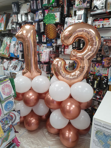 Rose gold and white 13th birthday balloon columns