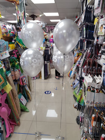 Silver Wedding Anniversary two balloon bouquets