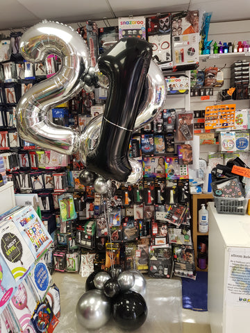 22nd and 21st double number balloon bouquet to celebrate a missed 21st