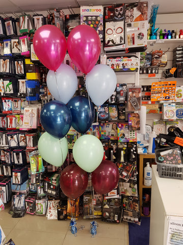Two five balloon bouquets in company colours