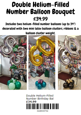 Double helium-filled number balloon bouquet