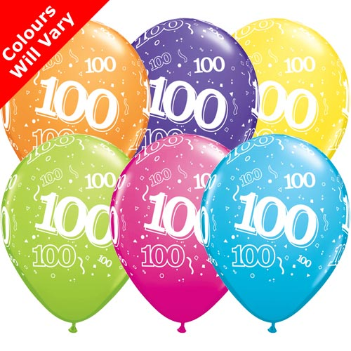 Tropical Assortment 100th Birthday Balloons (6pk)