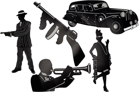 20s Gangster Silhouette Cut-Out Set