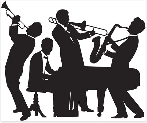 1920s Jazz Band Silhouette Mural
